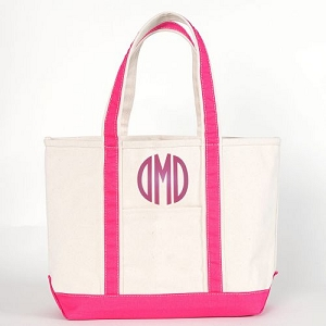 Monogrammed Medium Boat Tote - Hot Pink