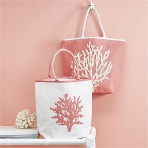 Coral Reef Beaded Tote Bag - White