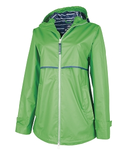 Monogrammed Rain Jacket with Print Lining, Kelly Green