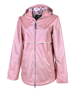 Monogrammed Rain Jacket with Print Lining, Rose Gold