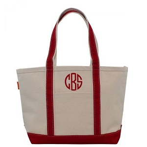 Monogrammed Medium Boat Tote - Red