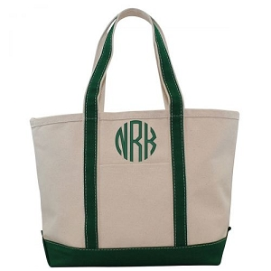Monogrammed Medium Boat Tote - Emerald