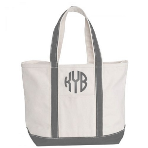 Monogrammed Medium Boat Tote - Gray