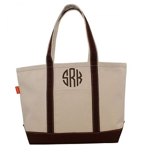 Monogrammed Medium Boat Tote - Brown