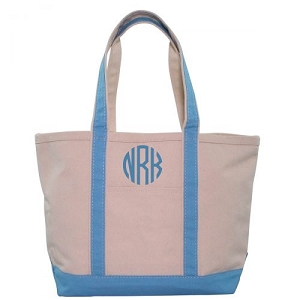 Monogrammed Medium Boat Tote - Baby Blue