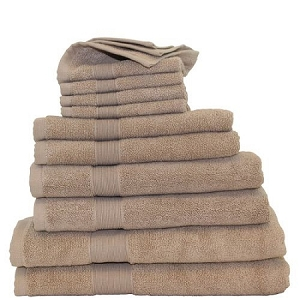 Luxury Cotton Monogrammed 10 Piece Towel Set - Taupe