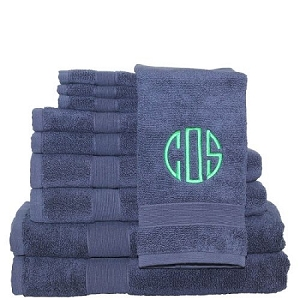 Luxury Cotton Monogrammed 10 Piece Towel Set - Navy