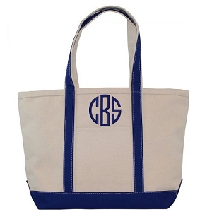 Monogrammed Medium Boat Tote - Royal Blue