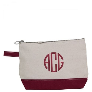 Canvas Cosmetic Bag - Maroon