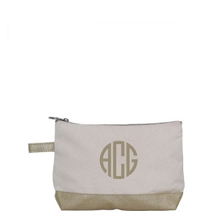 Canvas Cosmetic Bag - Metallic Gold