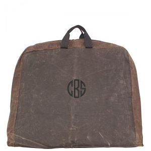 Monogrammed Waxed Canvas Garment Bag - Olive/Khaki