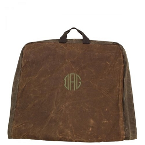Monogrammed Waxed Canvas Garment Bag - Khaki/Olive