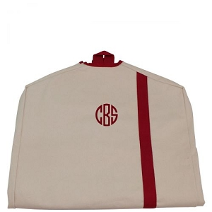 Monogrammed Garment Bag - Natural & Red