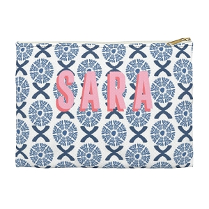 Monogrammed Clutch - Camille Blue (Large)