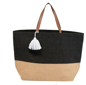 Monogrammed Color Block Jute Tote - Black