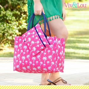 Monogrammed Tote - Hot Pink Palm