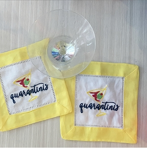 Quarantini Cocktail Napkins - set of 2