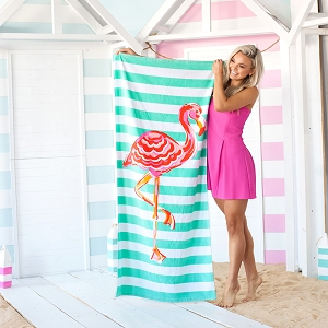 Monogrammed Beach Towel - Flamingo Stripe