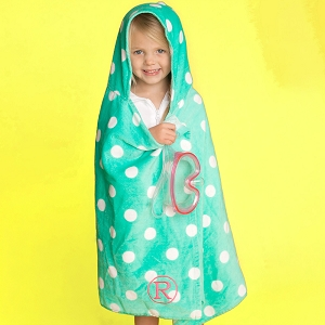 Monogrammed Hooded Towel - Mint