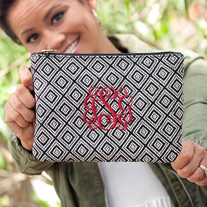 Monogrammed Everyly Wristlet - Black Diamond