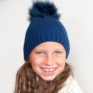 Girls' Monogrammed Winter Hat - Navy