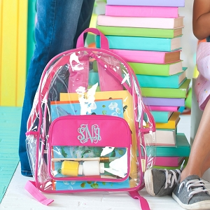 Monogrammed Backpack - Hot Pink Clear