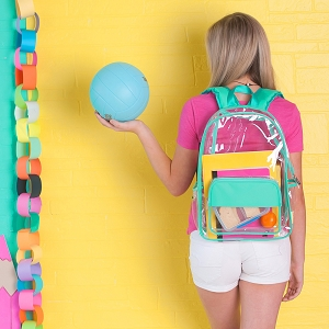 Monogrammed Backpack - Mint Clear