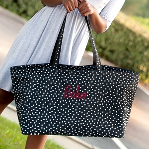 Monogrammed Ultimate Tote - Black Dot