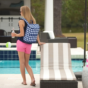 Monogrammed Backpack Cooler - Navy Check