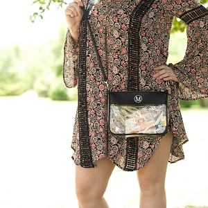 Monogrammed Clear Stadium Crossbody - Black