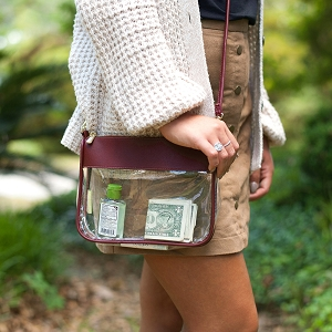 Monogrammed Clear Stadium Crossbody - Garnet