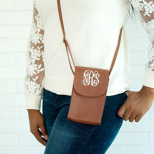 Monogrammed Laurel Crossbody - Camel