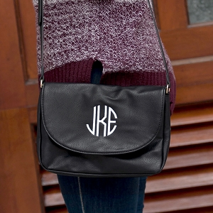 Monogrammed Anna Crossbody, Black