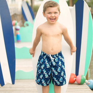 Monogrammed Boys' Swim Trunks - Sea Breeze