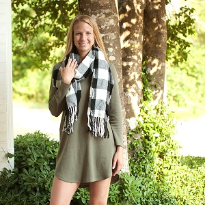 Monogrammed Scarf - Black Buffalo Check