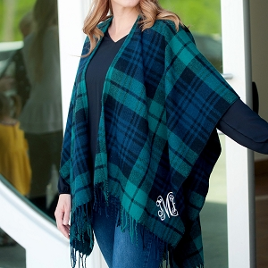 Monogrammed Shawl, Navy/Green Plaid