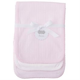 Monogrammed Baby Burp Cloth Set - Pink Pointelle
