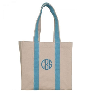 Monogrammed Four Bottle Wine Tote - Baby Blue