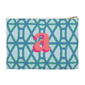Monogrammed Clutch - Bamboo Blue (Large)