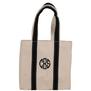 Monogrammed Four Bottle Wine Tote - Black