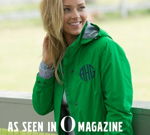 Monogrammed Logan Rain Jacket - Kelly Green