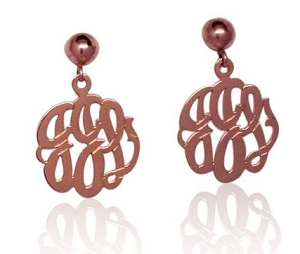 Monogrammed Earrings on Ball and Post - Script