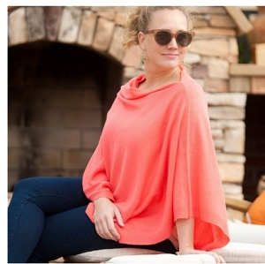 Monogrammed Pashmina Poncho, Coral