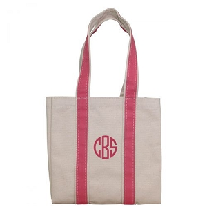 Monogrammed Four Bottle Wine Tote - Coral