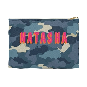Monogrammed Clutch - Camo Blue (Small)