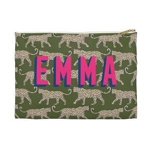 Monogrammed Clutch - Leopard Green (Large)