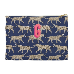 Monogrammed Clutch - Leopard Navy (Small)