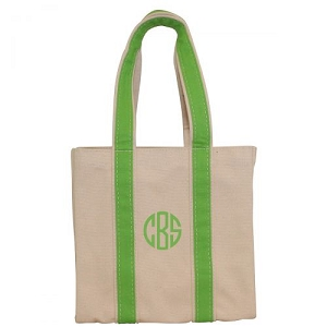Monogrammed Four Bottle Wine Tote - Grass Green