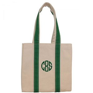 Monogrammed Four Bottle Wine Tote - Green