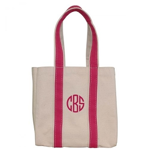 Monogrammed Four Bottle Wine Tote - Hot Pink